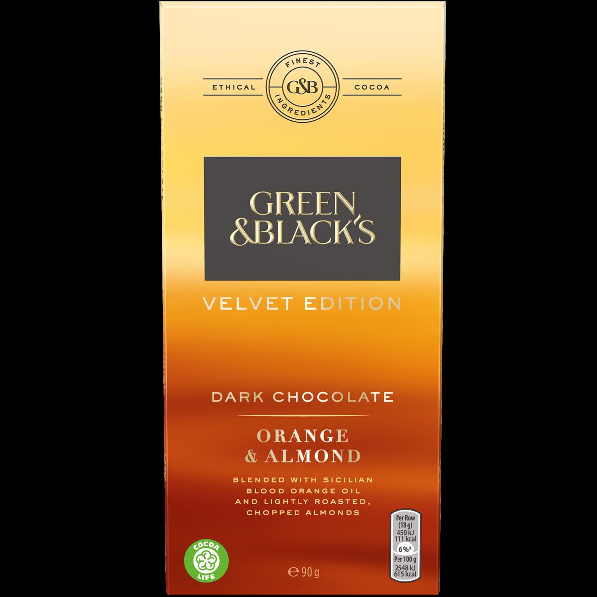Orange & Almond Dark Chocolate 90g Bar (Box of 18)