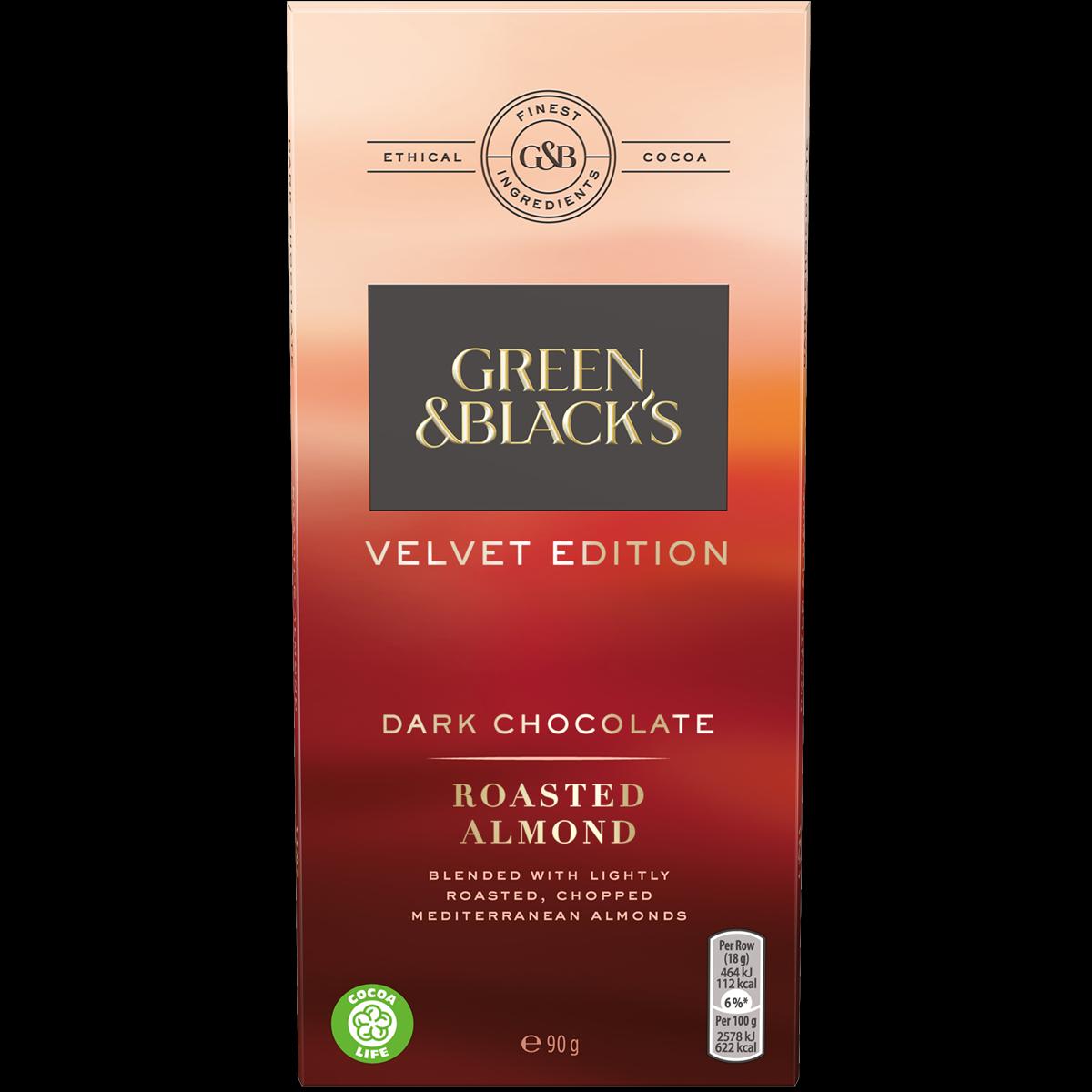 Roasted Almond Dark Chocolate 90g Bar (Box of 18)