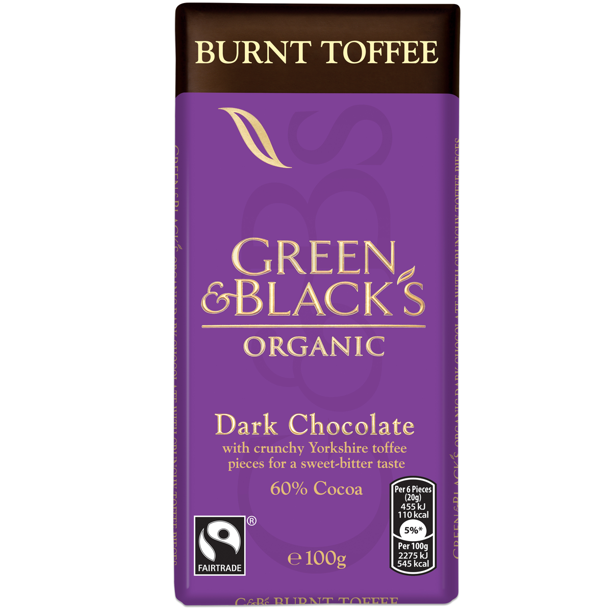 G&B's Burnt Toffee Dark Chocolate 100g Bar (Box of 15)