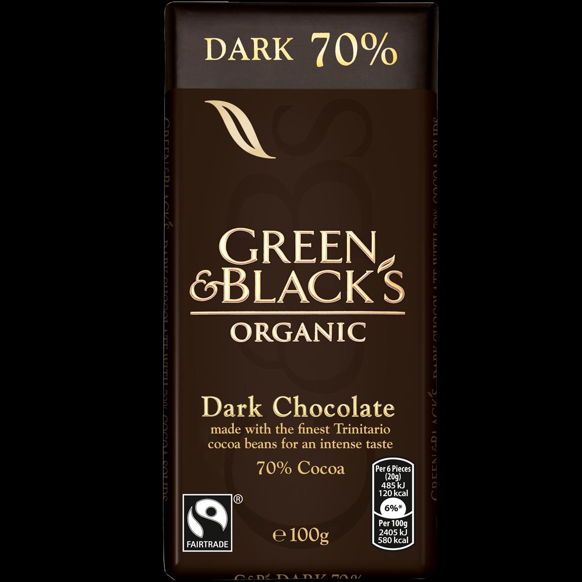 G&B's Dark 70% Chocolate 100g Bar (Box of 15)