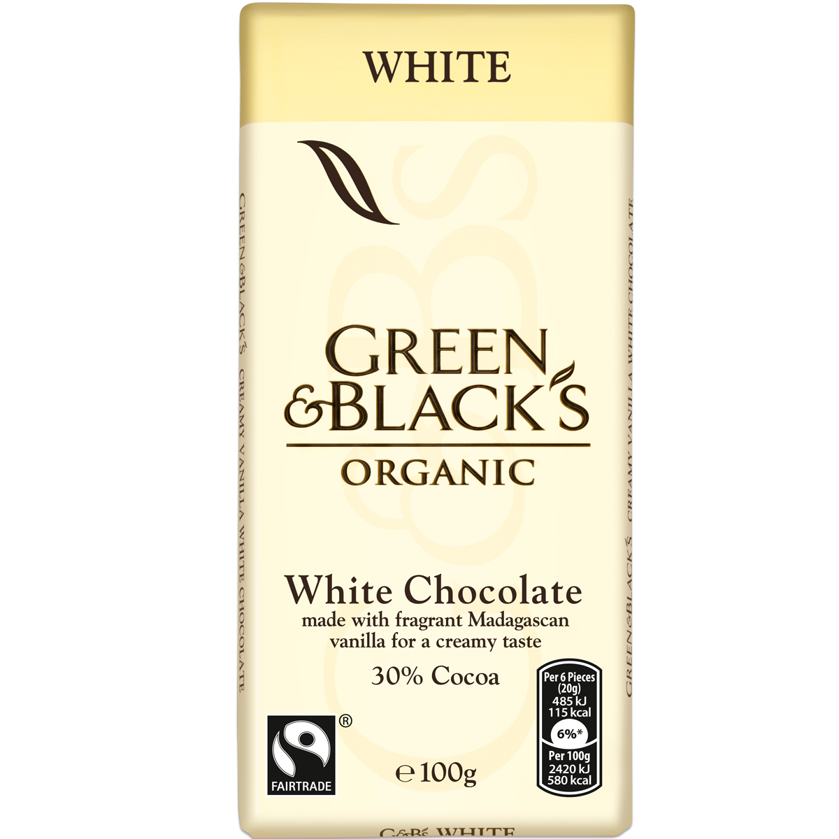 Chocolates G&B's White 100g Bar (Box of 15)