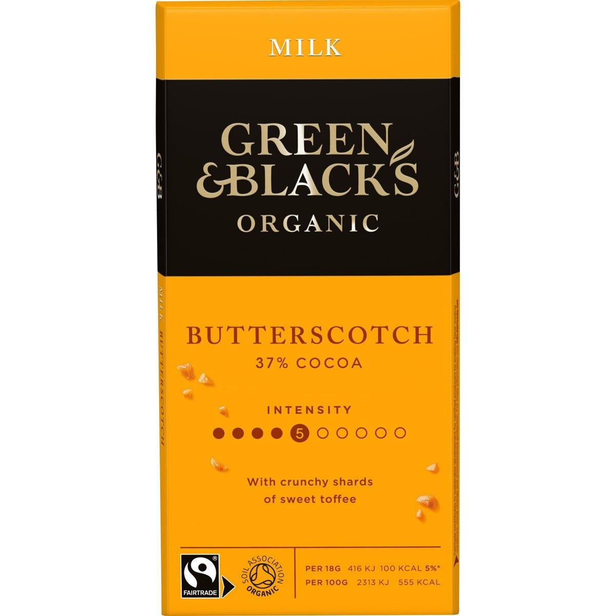 GB Organic Butterscotch 90g Bar (Box of 15)